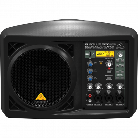 Behringer EUROLIVE B207MP3 150W Active PA Speaker with 4-channel Mixer